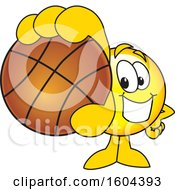 Clipart Of A Smiley Emoji School Mascot Character Grabbing A Basketball Royalty Free Vector Illustration by Toons4Biz