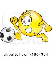 Clipart Of A Smiley Emoji School Mascot Character Playing Soccer Royalty Free Vector Illustration by Toons4Biz