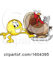 Clipart Of A Smiley Emoji School Mascot Character Tricking A Turkey Bird Weighing Itself Royalty Free Vector Illustration by Toons4Biz