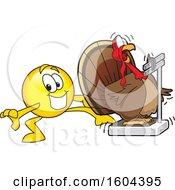 Poster, Art Print Of Smiley Emoji School Mascot Character Tricking A Turkey Bird Weighing Itself