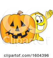 Poster, Art Print Of Smiley Emoji School Mascot Character With A Halloween Pumpkin