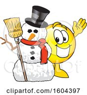 Clipart Of A Smiley Emoji School Mascot Character With A Christmas Snowman Royalty Free Vector Illustration