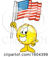 Poster, Art Print Of Smiley Emoji School Mascot Character Holding An American Flag