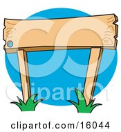 Blank Wooden Sign With Grass Growing Around The Posts Clipart Illustration