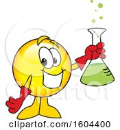 Clipart Of A Smiley Emoji School Mascot Character Holding A Science Flask Royalty Free Vector Illustration by Toons4Biz