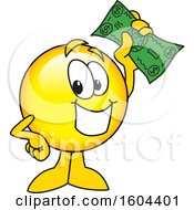 Clipart Of A Smiley Emoji School Mascot Character Holding Cash Money Royalty Free Vector Illustration by Toons4Biz