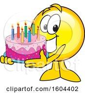 Poster, Art Print Of Smiley Emoji School Mascot Character Holding A Birthday Cake