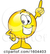 Clipart Of A Smiley Emoji School Mascot Character Holding Up A Finger Royalty Free Vector Illustration by Toons4Biz