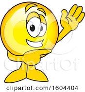 Poster, Art Print Of Smiley Emoji School Mascot Character Waving And Pointing