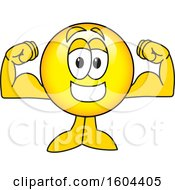 Poster, Art Print Of Smiley Emoji School Mascot Character Flexing His Muscles