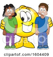 Clipart Of A Smiley Emoji School Mascot Character With Students Royalty Free Vector Illustration by Toons4Biz