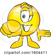 Poster, Art Print Of Smiley Emoji School Mascot Character Pointing Outwards