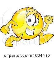 Poster, Art Print Of Smiley Emoji School Mascot Character Running