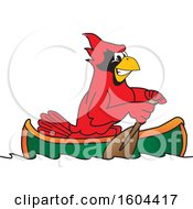 Clipart Of A Red Cardinal Bird School Mascot Character Rowing A Canoe Royalty Free Vector Illustration by Toons4Biz
