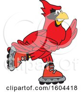 Clipart Of A Red Cardinal Bird School Mascot Character Roller Blading Royalty Free Vector Illustration