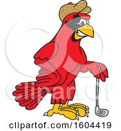 Clipart Of A Red Cardinal Bird School Mascot Character Golfer Royalty Free Vector Illustration