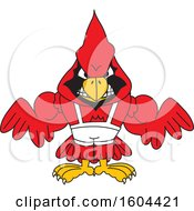 Clipart Of A Red Cardinal Bird School Mascot Character Wrestling Royalty Free Vector Illustration by Toons4Biz