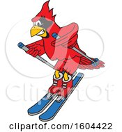 Clipart Of A Red Cardinal Bird School Mascot Character Skiing Royalty Free Vector Illustration by Toons4Biz