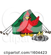 Clipart Of A Red Cardinal Bird School Mascot Character Camping Royalty Free Vector Illustration by Toons4Biz