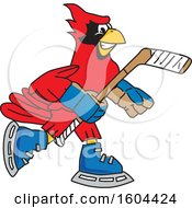 Clipart Of A Red Cardinal Bird School Mascot Character Playing Ice Hockey Royalty Free Vector Illustration