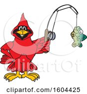 Clipart Of A Red Cardinal Bird School Mascot Character Fishing Royalty Free Vector Illustration