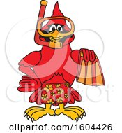 Clipart Of A Red Cardinal Bird School Mascot Character In Scuba Gear Royalty Free Vector Illustration