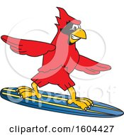 Clipart Of A Red Cardinal Bird School Mascot Character Surfing Royalty Free Vector Illustration