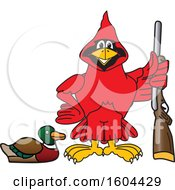 Clipart Of A Red Cardinal Bird School Mascot Character Duck Hunting Royalty Free Vector Illustration by Toons4Biz