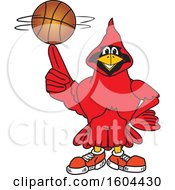 Clipart Of A Red Cardinal Bird School Mascot Character Spinning A Basketball Royalty Free Vector Illustration