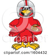 Clipart Of A Red Cardinal Bird School Mascot Character Football Player Royalty Free Vector Illustration