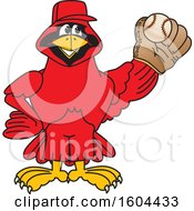Clipart Of A Red Cardinal Bird School Mascot Character Baseball Player Royalty Free Vector Illustration