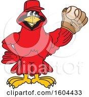 Poster, Art Print Of Red Cardinal Bird School Mascot Character Baseball Player