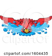 Red Cardinal Bird School Mascot Character Swimming