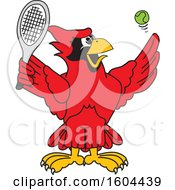 Clipart Of A Red Cardinal Bird School Mascot Character Playing Tennis Royalty Free Vector Illustration
