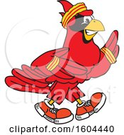 Clipart Of A Red Cardinal Bird School Mascot Character Running Or Jogging Royalty Free Vector Illustration by Toons4Biz
