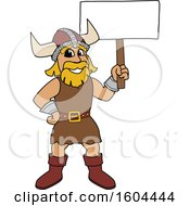 Male Viking School Mascot Character Holding A Blank Sign