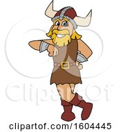 Male Viking School Mascot Character Leaning
