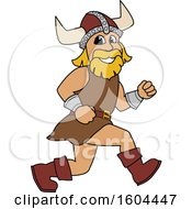 Clipart Of A Male Viking School Mascot Character Running Royalty Free Vector Illustration