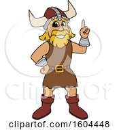 Male Viking School Mascot Character Holding Up A Finger