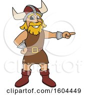 Male Viking School Mascot Character Pointing