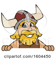 Male Viking School Mascot Character Over A Sign