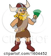 Male Viking School Mascot Character Holding Cash Money