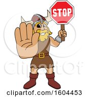 Male Viking School Mascot Character Holding A Stop Sign