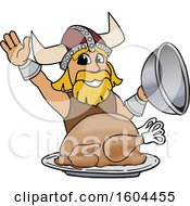 Male Viking School Mascot Character Serving A Thanksgiving Turkey