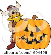 Male Viking School Mascot Character With A Halloween Pumpkin