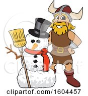Clipart Of A Male Viking School Mascot Character With A Christmas Snowman Royalty Free Vector Illustration