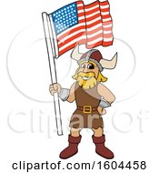 Male Viking School Mascot Character Holding An American Flag
