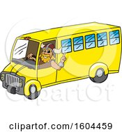 Male Viking School Mascot Character Driving A School Bus