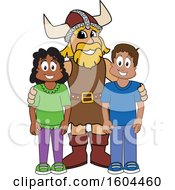Male Viking School Mascot Character With Students