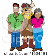 Clipart Of A Male Viking School Mascot Character With Parents Royalty Free Vector Illustration by Toons4Biz